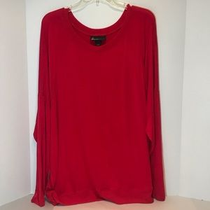 Lane Bryant red dolman sleeve blouse EUC